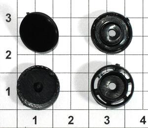 Кнопка пластиковая Т8 12мм черная для папок