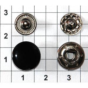Кнопка альфа 12.5мм черная №633 рубашечная