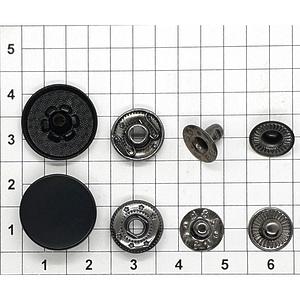 Кнопка гладкая 17мм черная