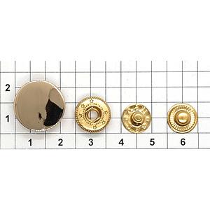 Кнопка гладкая 17мм светлое золото