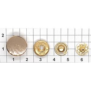 Кнопка гладкая 15мм светлое золото