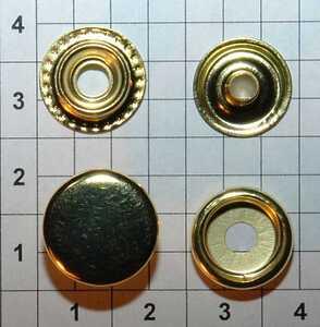 Кнопка №61 15мм золото кольцевая Strong