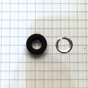 Люверс 5 черный нержавеющий плоский
